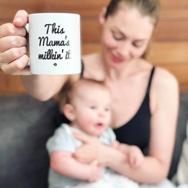 Georgia Jones with This Mama's Milkin it mug